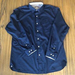 Can Heusen button down navy dress shirt